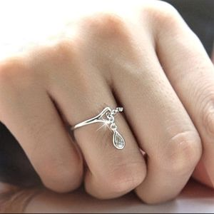 925 silver water droplet adjustable ring